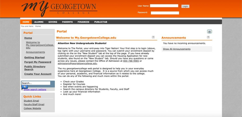 Review on the My Georgetown College Portal
